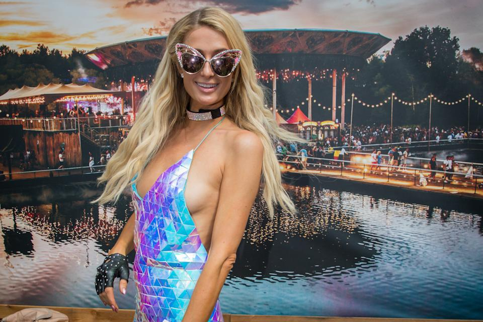 Paris Hilton pictured just before her DJ set at the third day of the Tomorrowland music festival, Sunday 21 July 2019. The 15th edition of Tomorrowland electronic music festival takes place at the 'De Schorre' terrain in Boom from 19 to 21 July 2017 and from 26 to 28 July 2018. BELGA PHOTO DAVID PINTENS        (Photo credit should read DAVID PINTENS/AFP/Getty Images)