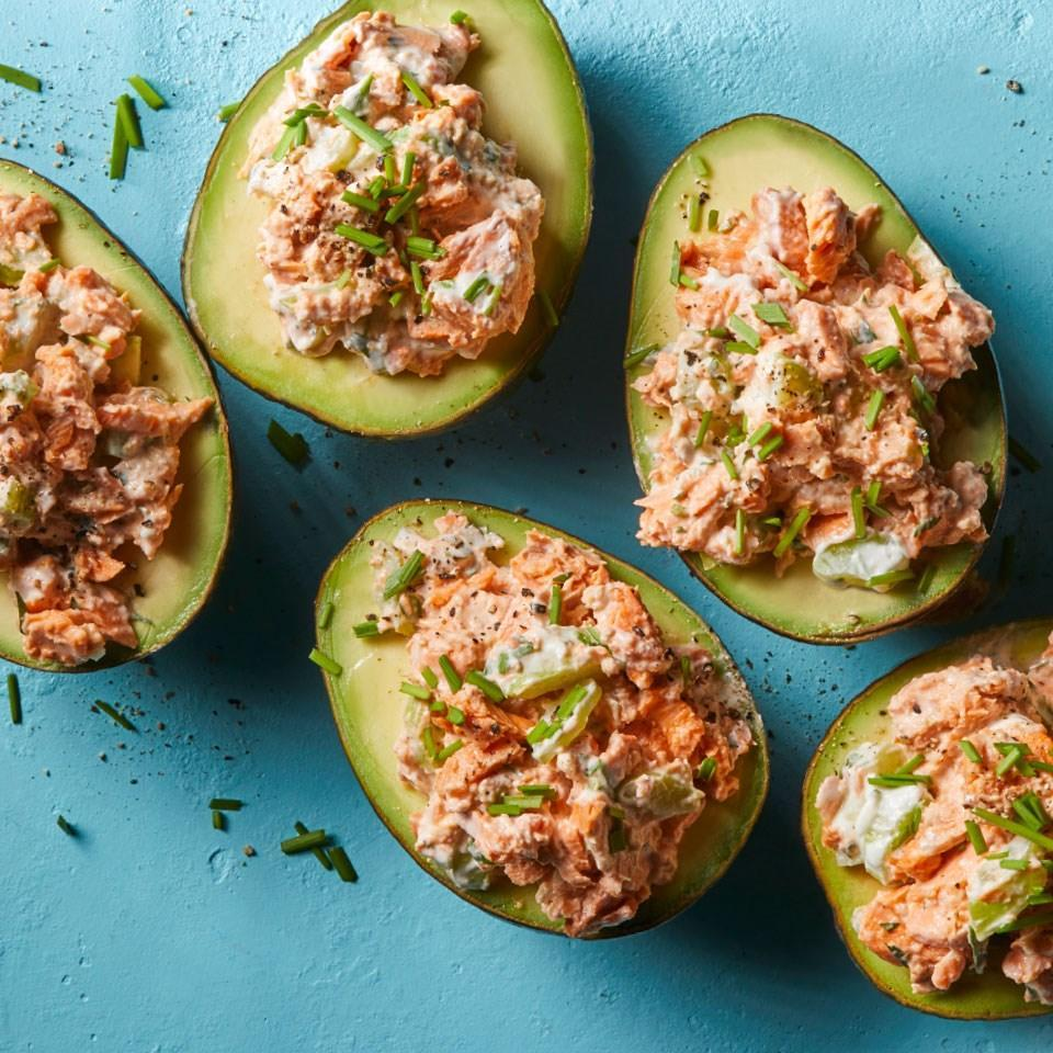 <p>Canned salmon is a valuable pantry staple and a practical way to include heart-healthy omega-3-rich fish in your diet. Here, we combine it with avocados in an easy no-cook meal.</p>
