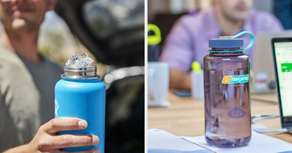 """These water bottleskeep drinks cold for a long time and are fun to decorate with stickers.<br /><br />""""They're totally worth the hype. As expensive as they are, they're worth it. I'm a camp counselor, so just about all summer is spent in the heat without A/C. I got mine for $45, and it held ice for five days in 90 degree heat. Totally worth all the 'VSCO-girl' mocking."""" —ghoffman<br /><br />""""Hydro Flasks are one of the only brand-specific parts of a 'VSCO-girl' aesthetic that are actually popular. Everyone has one covered in stickers — it's the best way to express yourself! If you don't have one, then you have a Nalgene water bottle."""" —campbells4dbe23c87<br /><br /><strong><a href=""""https://www.amazon.com/Hydro-Flask-Water-Bottle-Stainless/dp/B01ACAR52I?th=1&linkCode=ll1&tag=huffpost-bfsyndication-20&linkId=3865b4e6b33b66cae51e3971a9373e06&language=en_US&ref_=as_li_ss_tl"""" target=""""_blank"""" rel=""""noopener noreferrer"""">Get a HydroFlask from Amazon for $49.45 (available in three colors, and two sizes).</a></strong><br /><br /><strong><a href=""""https://www.amazon.com/Nalgene-Tritan-Mouth-BPA-Free-Bottle/dp/B00B9G82XQ?&linkCode=ll1&tag=huffpost-bfsyndication-20&linkId=04be3a7934ab9f76ac67c6700acdb9ab&language=en_US&ref_=as_li_ss_tl"""" target=""""_blank"""" rel=""""noopener noreferrer"""">Get a Nalgene from Amazon for $11.99 (available in 21 colors).</a></strong>"""