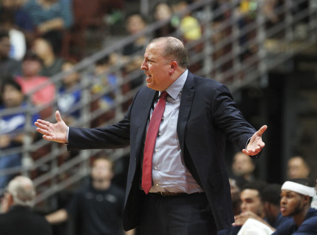 Wolves coach Tom Thibodeau was already in midseason form in the preseason opener. (AP)