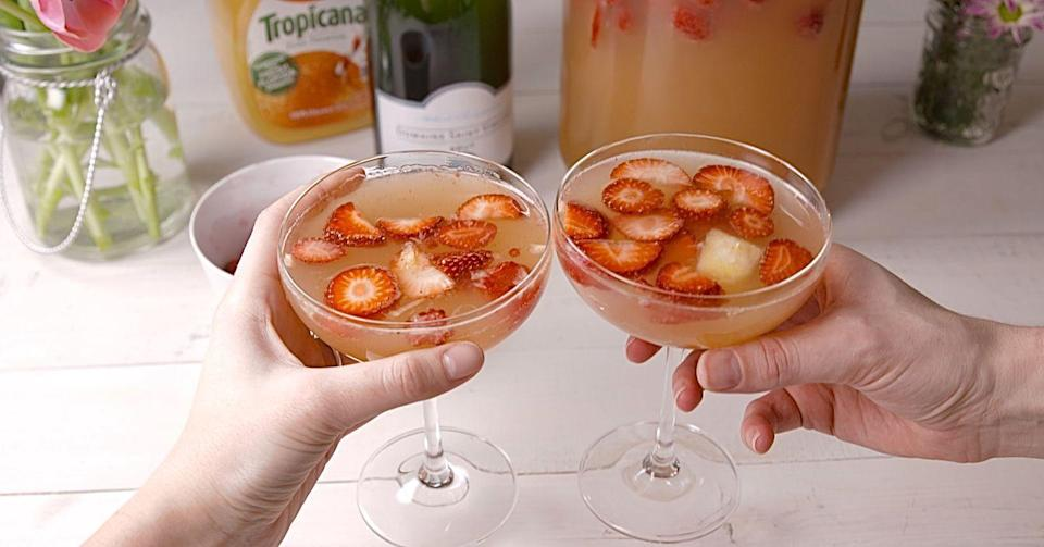 """<p>There's no such thing as too early for sangria.</p><p>Get the recipe from <a href=""""https://www.delish.com/cooking/recipe-ideas/recipes/a46536/mimosa-sangria-recipe/"""" rel=""""nofollow noopener"""" target=""""_blank"""" data-ylk=""""slk:Delish"""" class=""""link rapid-noclick-resp"""">Delish</a>.</p>"""