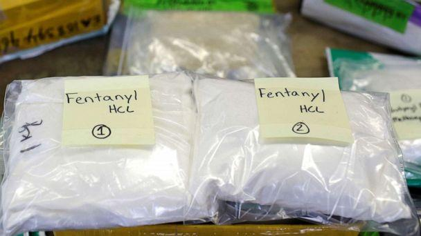 FILE PHOTO: Plastic bags of Fentanyl are displayed on a table at the U.S. Customs and Border Protection area at O'Hare International Airport in Chicago in this Nov. 29, 2017, file photo. (Joshua Lott/Reuters)