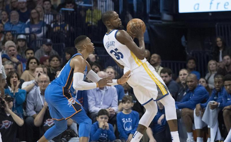 Kevin Durant, right, with Russell Westbrook.