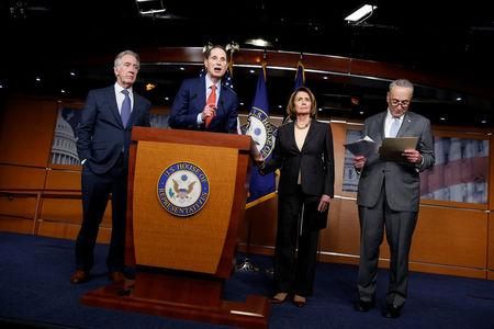 Democrats react to the Republican legislation to overhaul the tax code on Capitol Hill in Washington