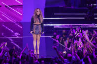 Jennifer Lopez presents the award for song of the year at the MTV Video Music Awards at Barclays Center on Sunday, Sept. 12, 2021, in New York. (Photo by Charles Sykes/Invision/AP)
