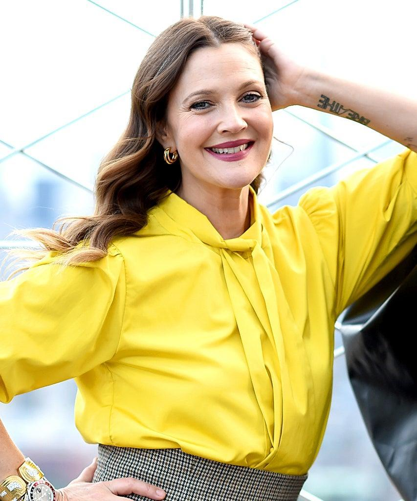 """NEW YORK, NEW YORK – SEPTEMBER 14: Drew Barrymore celebrates the Launch of The Drew Barrymore Show at The Empire State Building on September 14, 2020 in New York City. (Photo by Dimitrios Kambouris/""""Getty Images for Empire State Realty Trust)"""