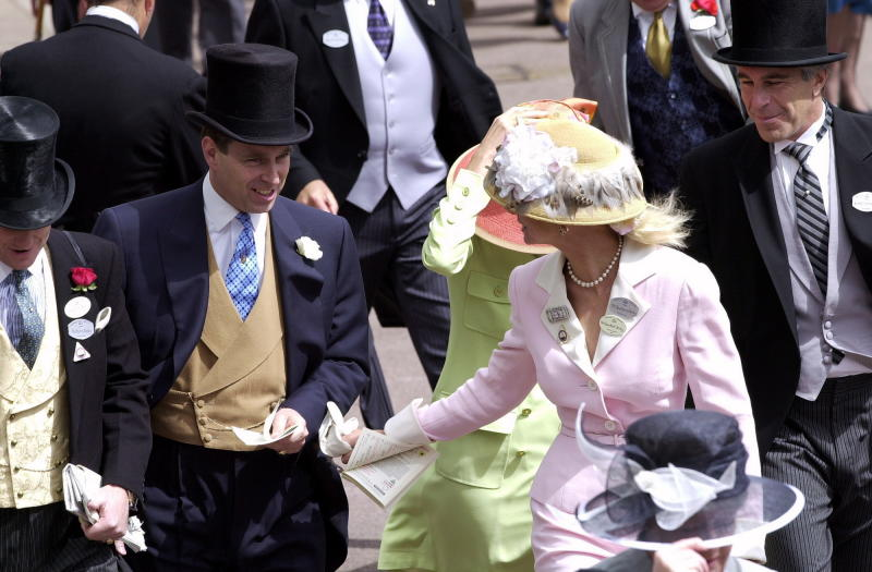Royal Ascot Race Meeting Thursday - Ladies Day. Prince Andrew, The Duke Of York and Jeffrey Epstein (far right) At Ascot. With them are Edward (far left) and Caroline Stanley (in pink), the Earl and Countess of Derby on June 22, 2000