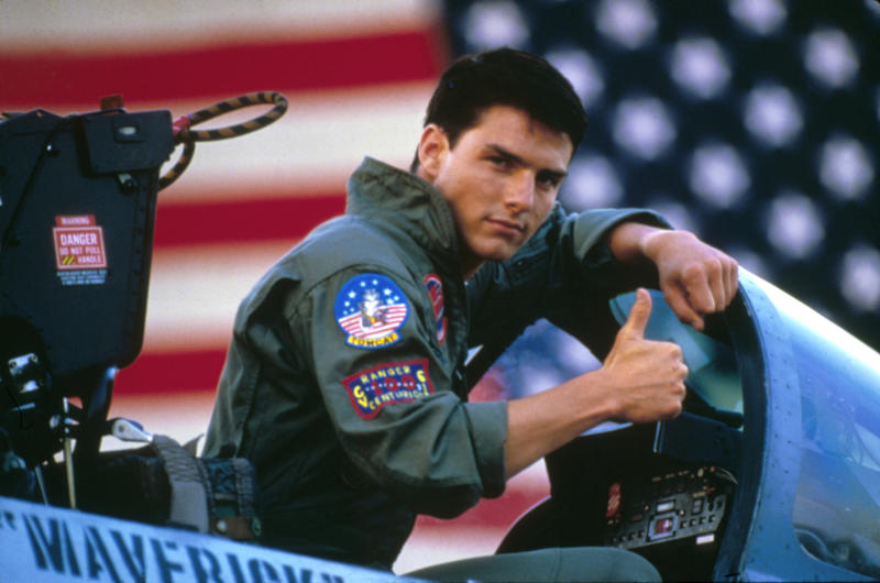 American actor Tom Cruise on the set of Top Gun, directed by Tony Scott. (Photo by Paramount Pictures/Sunset Boulevard/Corbis via Getty Images)