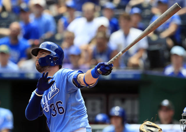 Kansas City Royals' Cam Gallagher hits a solo home run off Toronto Blue Jays starting pitcher Jacob Waguespack during the third inning of a baseball game at Kauffman Stadium in Kansas City, Mo., Wednesday, July 31, 2019. (AP Photo/Orlin Wagner)