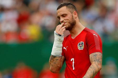 Soccer Football - International Friendly - Austria vs Brazil - Ernst-Happel-Stadion, Vienna, Austria - June 10, 2018 Austria's Marko Arnautovic reacts REUTERS/Leonhard Foeger