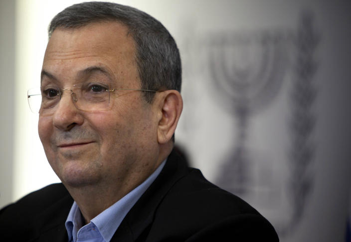 Israeli Defense Minister Ehud Barak speaks to the media in Tel Aviv, Monday, Nov. 26, 2012. Barak shook up the Israeli political system Monday with the abrupt announcement that he is quitting politics and will not run in general elections in January. The defense minister made the surprise announcement even after polls showed his breakaway Independence Party gaining momentum after Israel's recent military offensive in the Gaza Strip. (AP Photo/Oded Balilty)