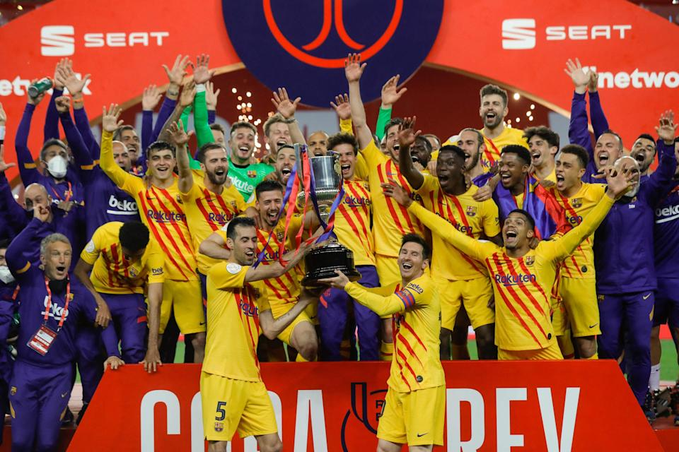 FC Barcelona players celebrate after winning the Spanish Copa del Rey.