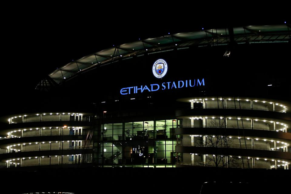 9th January 2018, Etihad Stadium, Manchester, England; Carabao Cup football, semi-final, 1st leg, Manchester City versus Bristol City; nightime exterior of the Etihad stadium (Photo by Conor Molloy/Action Plus via Getty Images)