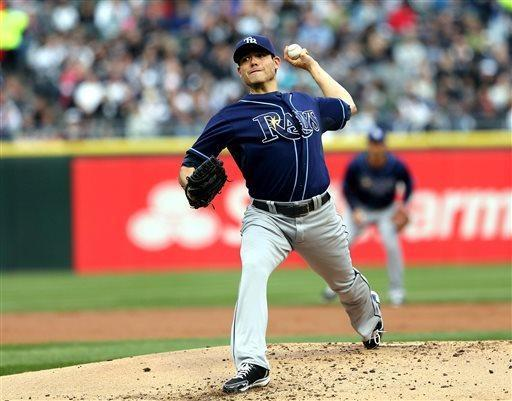 Tampa Bay Rays starting pitcher Matt Moore pitches to the Chicago White Sox during the first inning in a baseball game in Chicago on Saturday, April 27, 2013. (AP Photo/Charles Cherney)