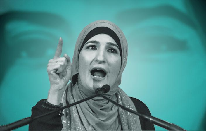 Linda Sarsour speaks during a National Day of Action for a Dream Act Now protest on Feb. 7, 2018, in Washington, D.C. (Photo: Illustration: Damon Dahlen/HuffPost; Photos: Getty)