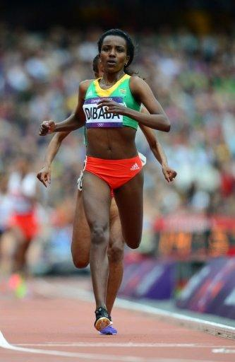 Ethiopia's Tirunesh Dibaba Kenene competes in the women's 5000m heats at the athletics event during the London 2012 Olympic Games, on August 7. Dibaba will bid to add to her remarkable medals collection by retaining her 5,000m title to complete the Olympic double for a second time