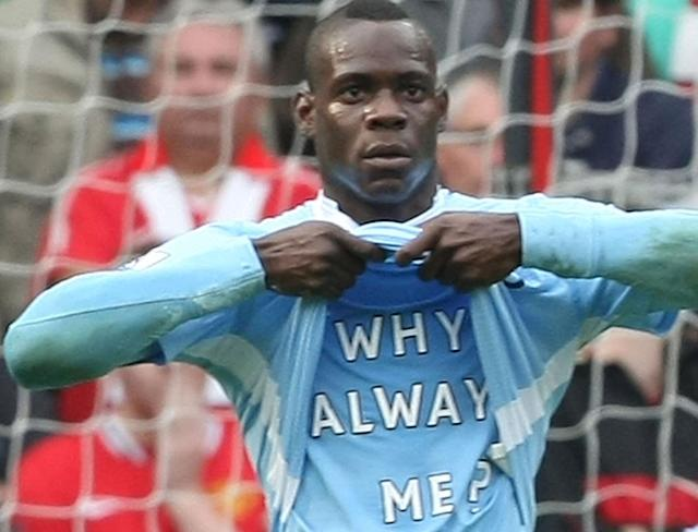 Mario Balotelli pondering his existence on Earth after scoring against Manchester United in 2011