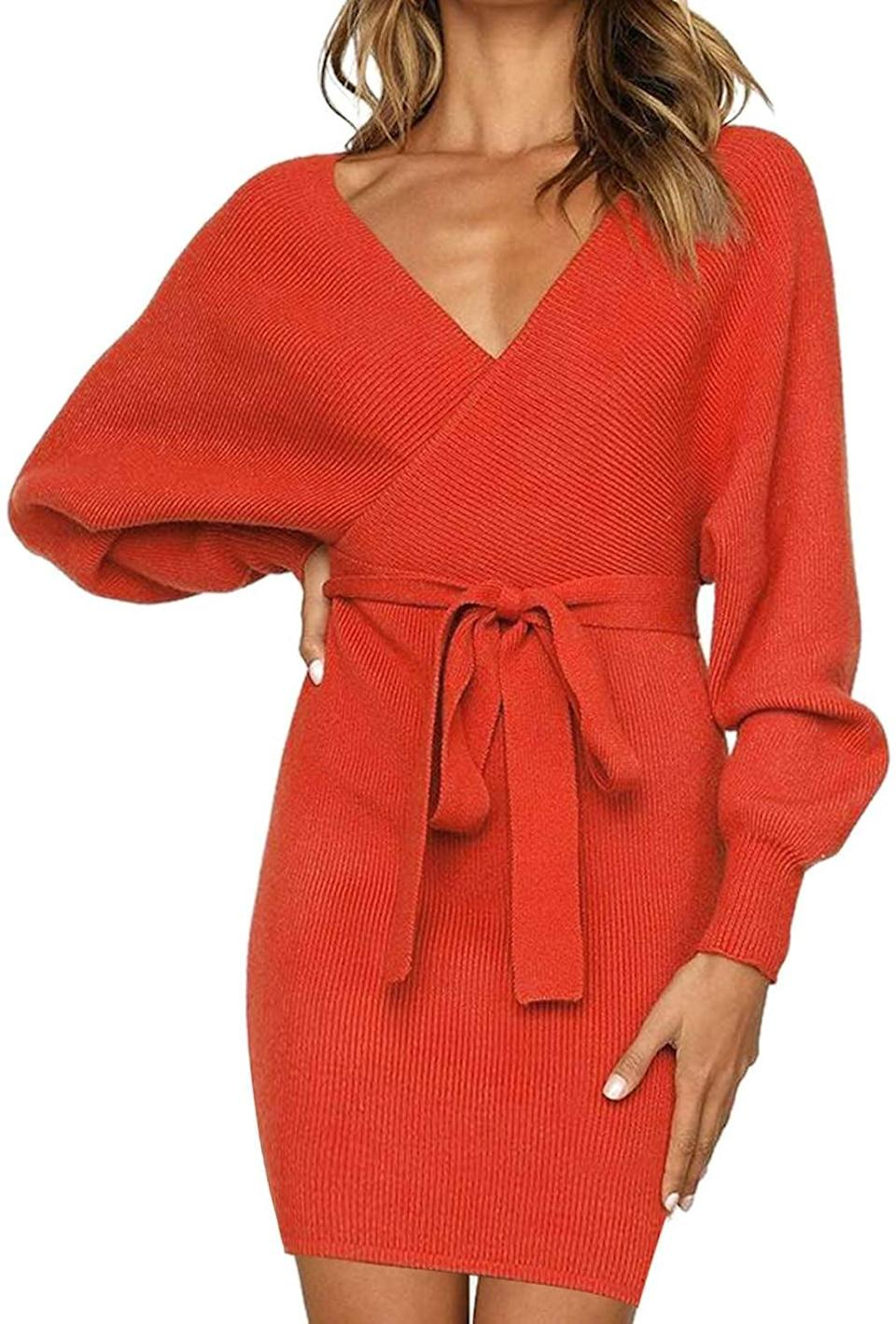 <p>We love the vibrant shade of this <span>V Neck Tie Front Knit Dress</span> ($30).</p>