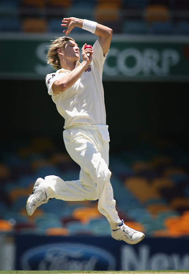 BRISBANE, AUSTRALIA - DECEMBER 20:  Shane Watson of the Bulls in action during day two of the Pura Cup Match between the Queensland Bulls and Victorian Bushrangers at the Gabba December 20, 2004 in Brisbane, Australia.  (Photo by Jonathan Wood/Getty Images)