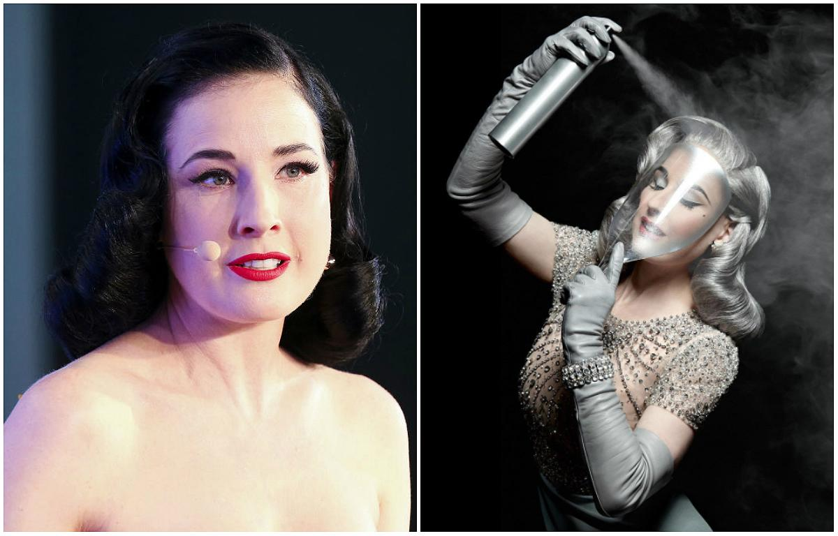 """<p><strong>When: June 18, 2017</strong> <br />Dita Von Teese is known for her striking jet black locks, but the classic beauty recently took to Instagram with silver hair. """"Silverfox,"""" she captioned next to the stunning photo of her spraying her 1940s-inspired silver coiffed curls. <em>(Photos: Getty/Instagram)</em> </p>"""