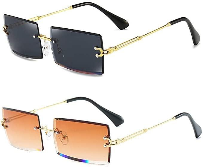 <p>Bring back the 90's with these TikTok viral <span>Dollger Rimless Rectangle Sunglasses (Pack of 2)</span> ($18).</p>