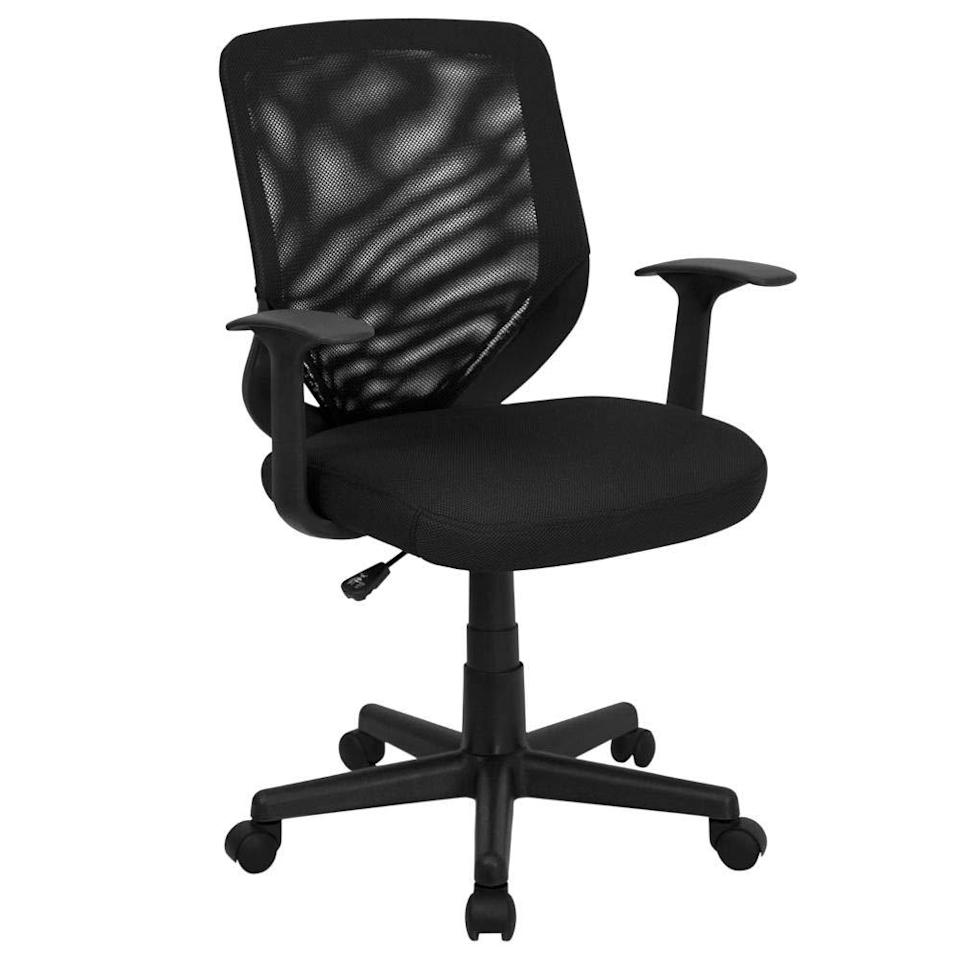 "<h2>Black Mid-Back Task Chair</h2><br><br><strong>Flash Furniture</strong> Flash Furniture Black Mid-Back Task Chair, $, available at <a href=""https://amzn.to/3lHVbty"" rel=""nofollow noopener"" target=""_blank"" data-ylk=""slk:Amazon"" class=""link rapid-noclick-resp"">Amazon</a>"