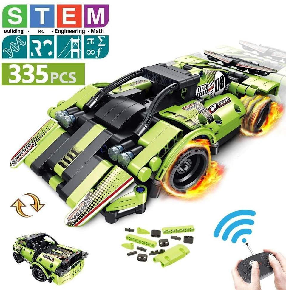 """<p>This interactive <a href=""""https://www.popsugar.com/buy/STEM-2--1-Remote-Building-Control-Racer-588042?p_name=STEM%202-in-1%20Remote%20Building%20Control%20Racer&retailer=amazon.com&pid=588042&price=50&evar1=moms%3Aus&evar9=32519221&evar98=https%3A%2F%2Fwww.popsugar.com%2Ffamily%2Fphoto-gallery%2F32519221%2Fimage%2F44850603%2FSTEM-2--1-Remote-Building-Control-Racer&list1=gifts%2Choliday%2Ctoys%2Cgift%20guide%2Cstem%2Cbabies%2Cgifts%20for%20kids%2Clittle%20kids%2Ckid%20shopping%2Choliday%20living%2Ctweens%20and%20teens%2Choliday%20for%20kids%2Cgifts%20for%20teens&prop13=api&pdata=1"""" class=""""link rapid-noclick-resp"""" rel=""""nofollow noopener"""" target=""""_blank"""" data-ylk=""""slk:STEM 2-in-1 Remote Building Control Racer"""">STEM 2-in-1 Remote Building Control Racer</a> ($50) will teach them patience, creativity, and hand-eye coordination. They have to build their car before they can take it out and race it. </p>"""