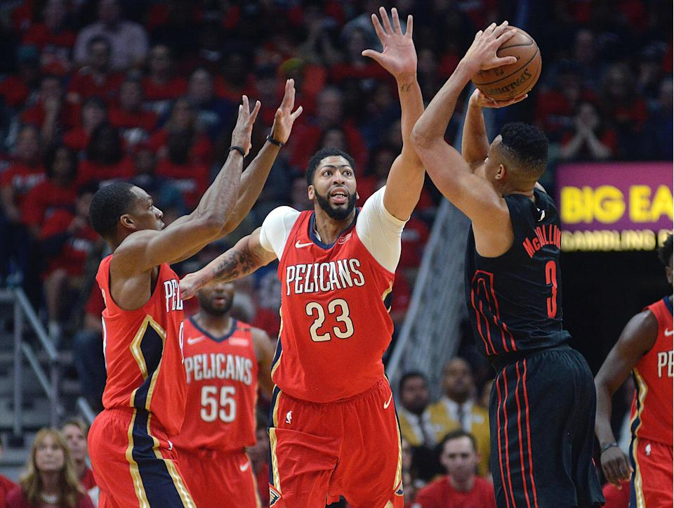 Anthony Davis capped his playoff coming out party with a dominant Game 4 performance to complete a stunning Pelicans sweep of the Trail Blazers. (AP)