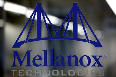 FILE PHOTO: A logo of Mellanox Technologies is seen at their building in Yokneam, Israel March 4, 2019. Picture taken March 4, 2019. REUTERS/Amir Cohen/File Photo