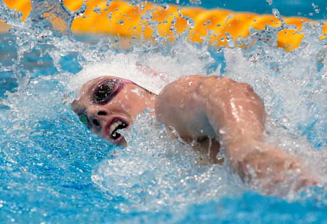 LONDON, ENGLAND - JULY 30: (L-R) Missy Franklin of the United States competes in heat 3 of the Women's 200m Freestyle on Day 3 of the London 2012 Olympic Games at the Aquatics Centre on July 30, 2012 in London, England. (Photo by Adam Pretty/Getty Images)