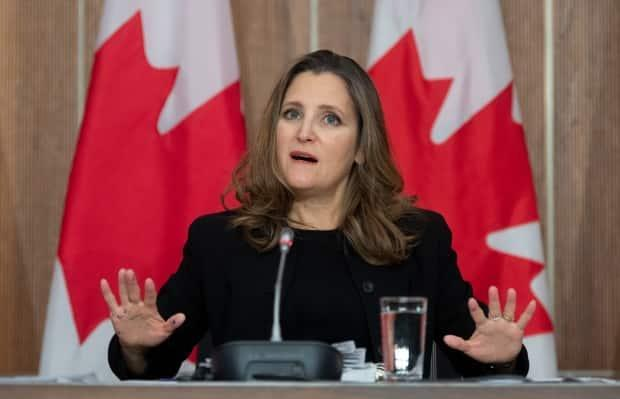 Deputy Prime Minister Chrystia Freeland, pictured at a news conference in November, called the agreement with Air Canada  'a good and fair deal for Canada and Canadians.'