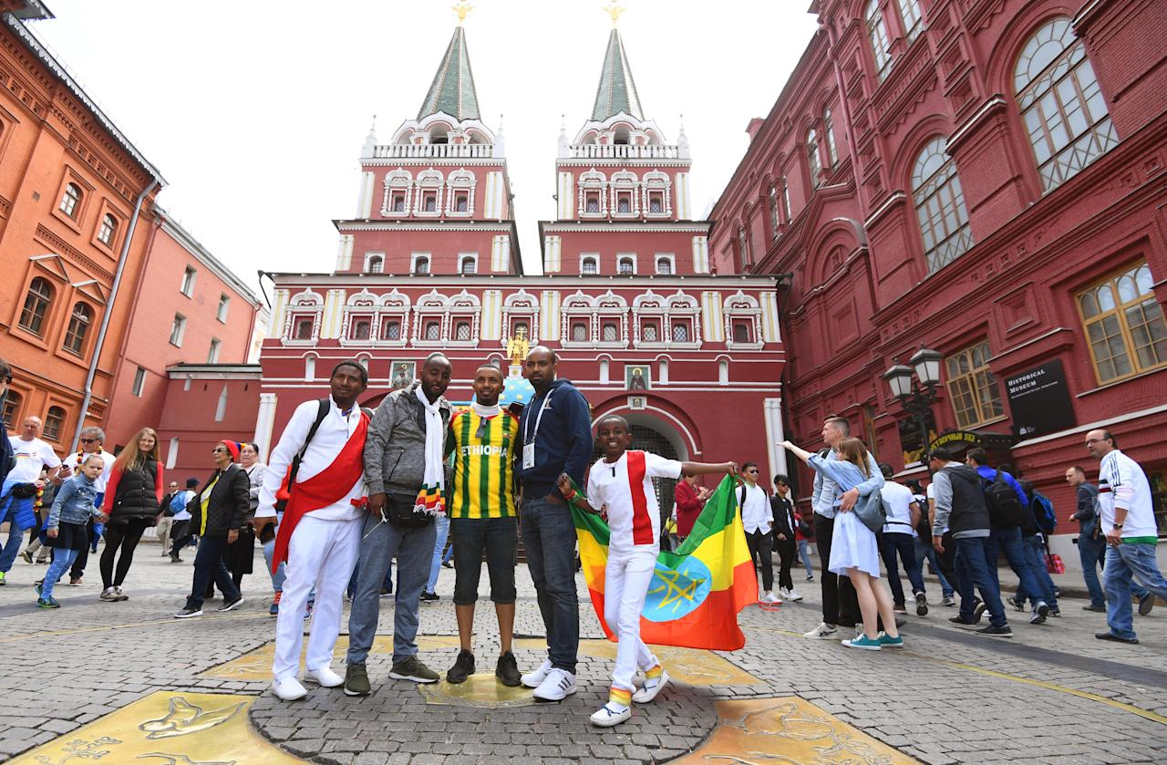 <p>Football fans make merry in Moscow </p>