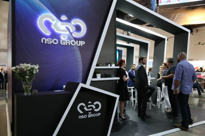 """Israeli cyber firm NSO Group's exhibition stand is seen at """"ISDEF 2019"""", an international defence and homeland security expo, in Tel Aviv"""