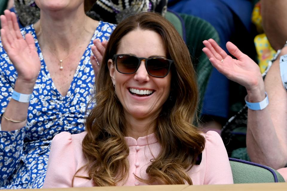 LONDON, ENGLAND - JULY 11: HRH Catherine, Duchess of Cambridge attends Wimbledon Championships Tennis Tournament at All England Lawn Tennis and Croquet Club on July 11, 2021 in London, England. (Photo by Karwai Tang/WireImage)