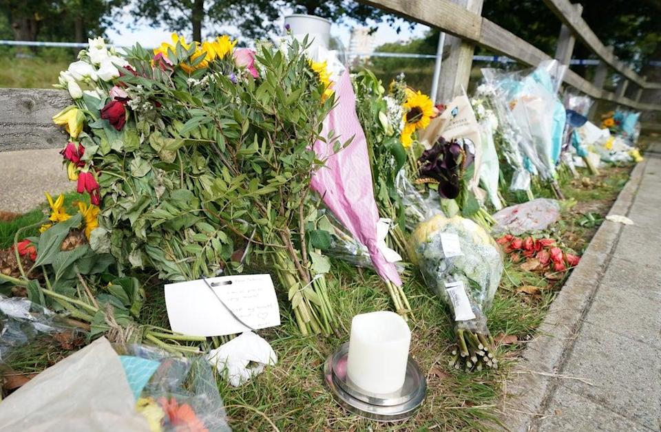 Floral tributes at Cator Park in Kidbrooke (PA Wire)