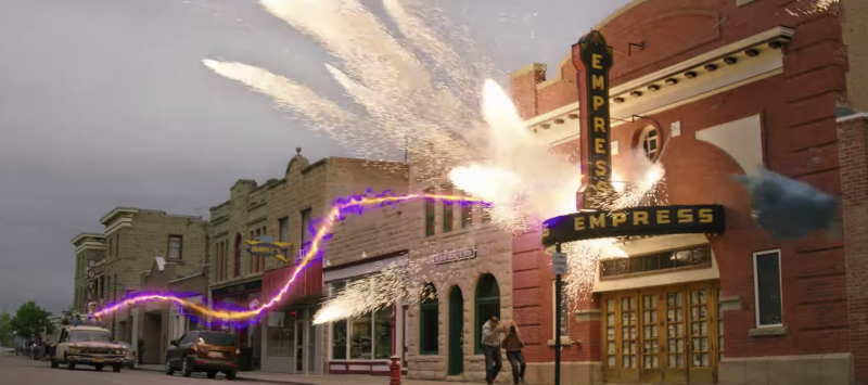 The Ecto-1 gives chase to a familiar-looking ghost in the 'Afterlife' trailer. (Photo: Sony)