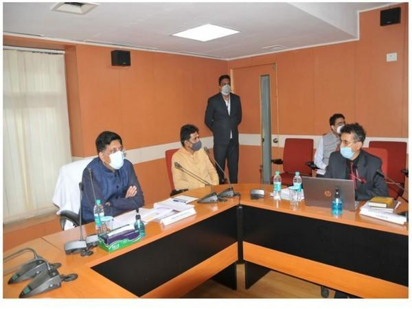 Piyush Goyal chairing meeting to review the functioning of the Office of Controller General of Patents, Designs and Trademarks in Mumbai on Saturday.