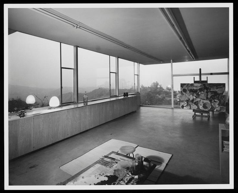 An earlier interior view reveals how the artist arranged the home's light-filled studio space.