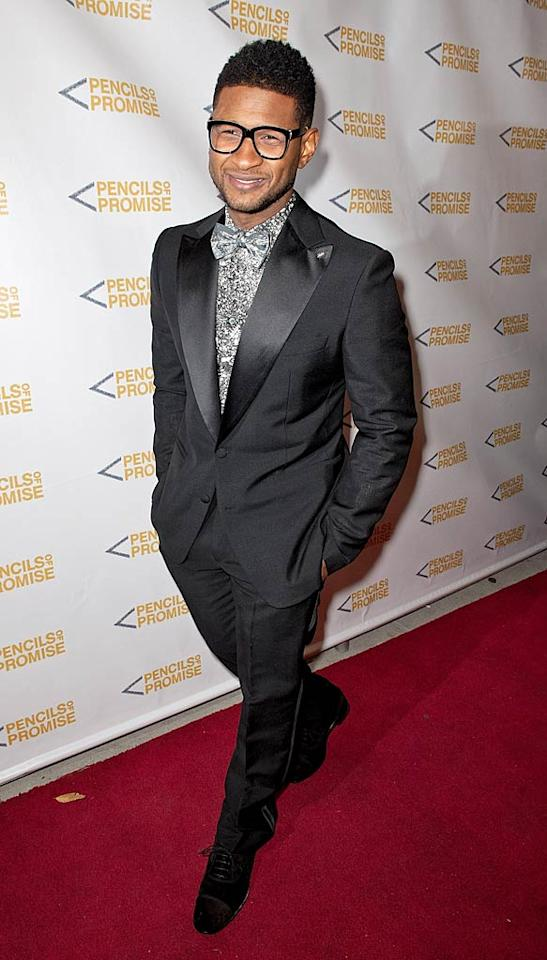 Usher walked the red carpet in a bow tie and specs. The singer did his part to raise funds for the organization by auctioning off some time on the basketball court with himself, the Biebs, Shaquille O'Neal, and Pencils of Promise founder Adam Braun. Would you want to take them on? (11/17/2011)