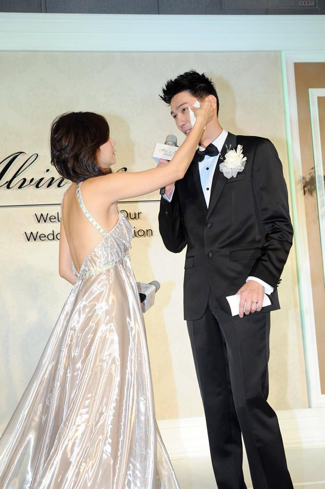 "<p>The couple, who have been dating for over a year, exchanged rings and said ""I do"" in front of fifty tables of close friends and relatives at the wedding held at the Le Meridien Taipei.</p>"