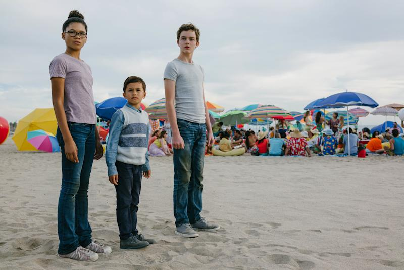 "Storm Reid, Deric McCabe and Levi Miller in ""A Wrinkle in Time."""