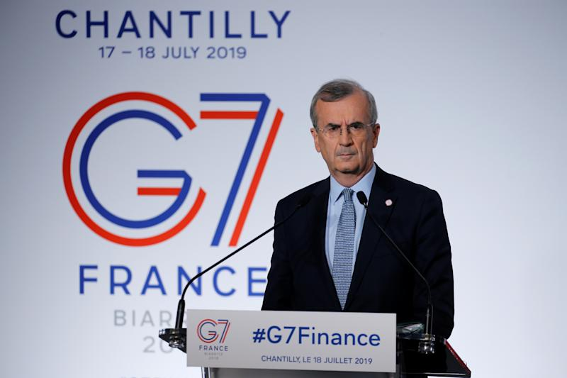 Governor of the Bank of France Francois Villeroy de Galhau attends a news conference at the G7 finance ministers and central bank governors meeting in Chantilly, near Paris, France, July 18, 2019. REUTERS/Pascal Rossignol