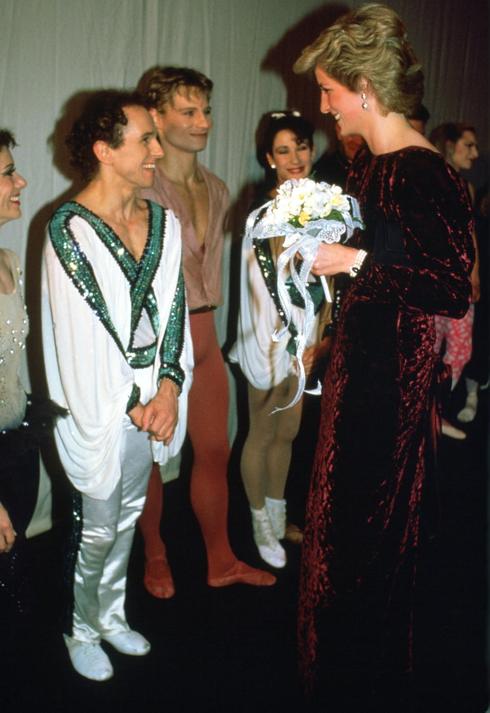 LONDON, UNITED KINGDOM - DECEMBER 15:  Diana, Princes Of Wales, Meeting Ballet Dancer Wayne Sleep At Sadler's Wells Theatre (exact Day Date Not Certain)  (Photo by Tim Graham Photo Library via Getty Images)