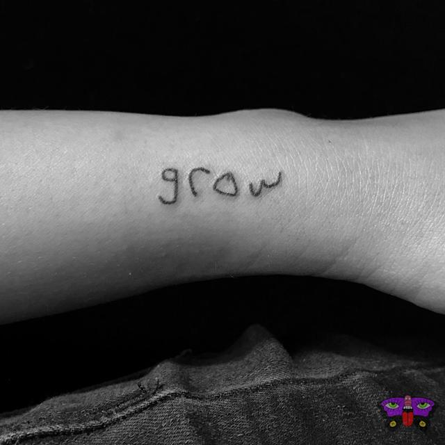 A parent's tattoo in the handwriting of family members. (Photo: Jess Koala)