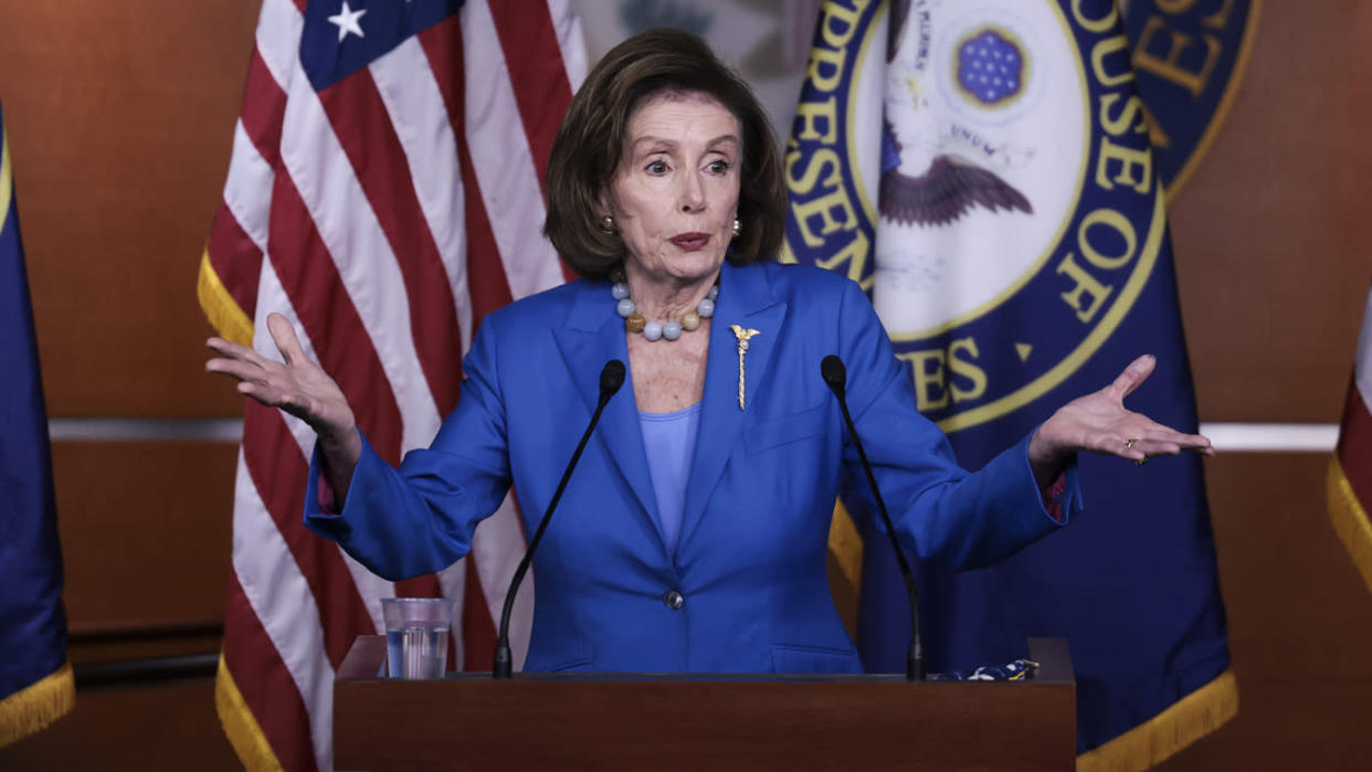 House Speaker Nancy Pelosi (D-CA) gestures as she speaks at a news conference at the U.S. Capitol on October 12, 2021 in Washington, DC. (Anna Moneymaker/Getty Images)