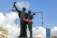 Protesters errected nooses and a gallows at the Martyrs' Statue in Beirut