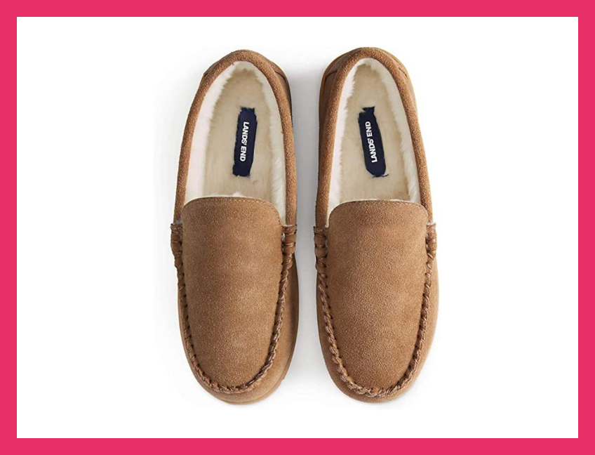 Lands' End Men's Suede Leather Moccasin Slippers. (Photo: Amazon)