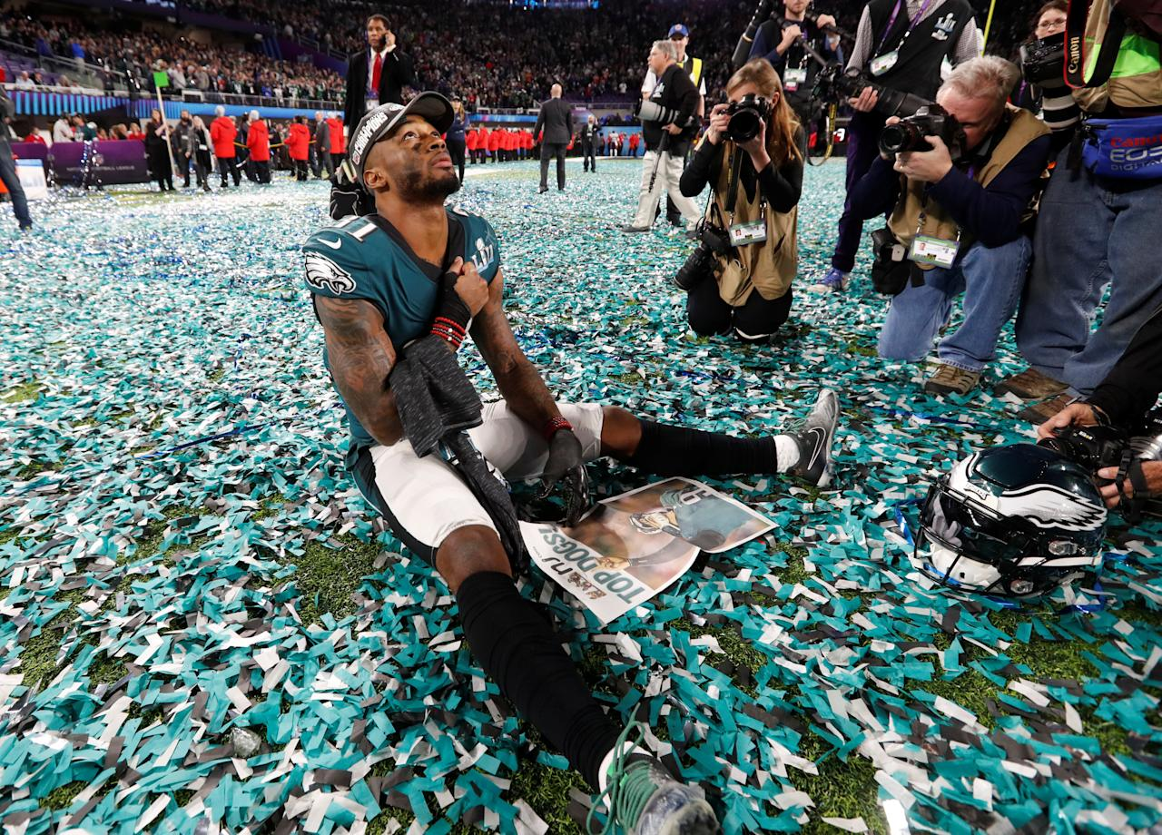<p>Philadelphia Eagles' Jalen Mills celebrates after winning Super Bowl LII REUTERS/Kevin Lamarque </p>