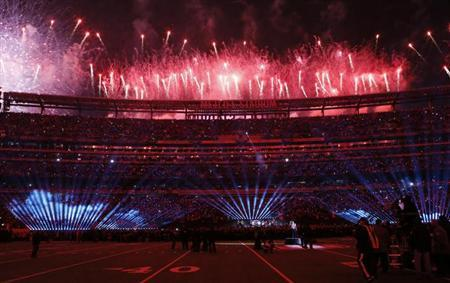 Fireworks erupt as Bruno Mars performs during the half-time show of the NFL Super Bowl XLVIII football game between the Denver Broncos and the Seattle Seahawks in East Rutherford, New Jersey, February 2, 2014. REUTERS/Ray Stubblebine