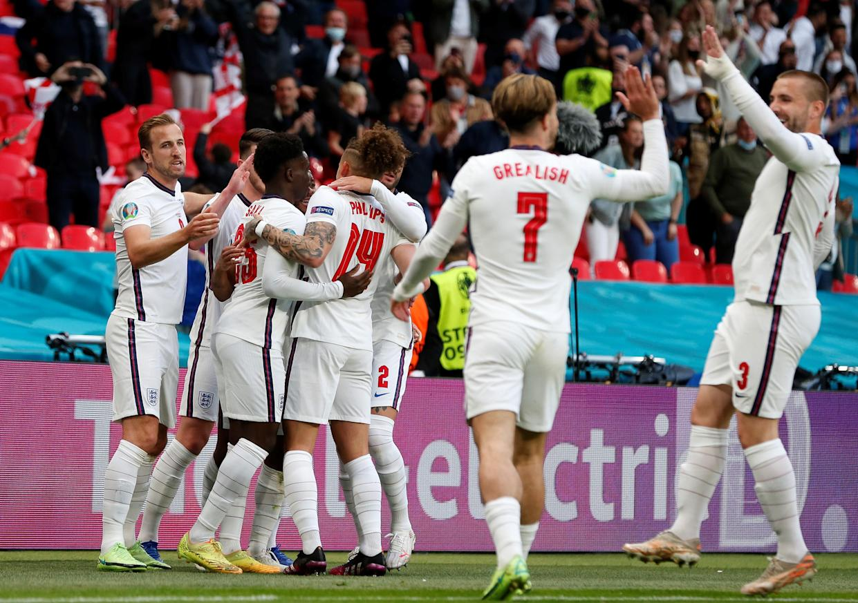 England's players celebrate the goal by Raheem Sterling during the Group D match between England and the Czech Republic at the UEFA EURO 2020 in London, Britain, on June 22, 2021. (Photo by Han Yan/Xinhua via Getty Images)